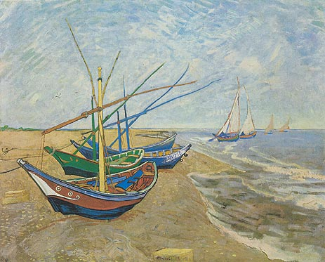 Fishing Boats on the Beach at Saintes-Maries, 1888 | Vincent van Gogh | Painting Reproduction