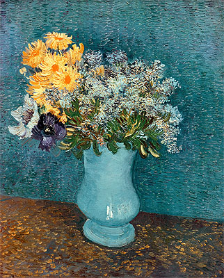 Vase with Lilacs, Daisies and Anemones, 1887 | Vincent van Gogh | Painting Reproduction