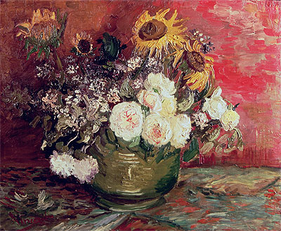 Bowl with Sunflowers, Roses and Other Flowers, 1886 | Vincent van Gogh | Painting Reproduction