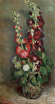 Vase with Hollyhocks, 1886 | Vincent van Gogh | Painting Reproduction