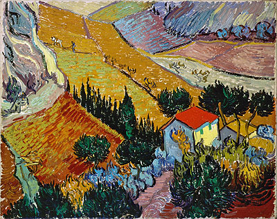 Landscape with House and Ploughman, 1889 | Vincent van Gogh | Painting Reproduction