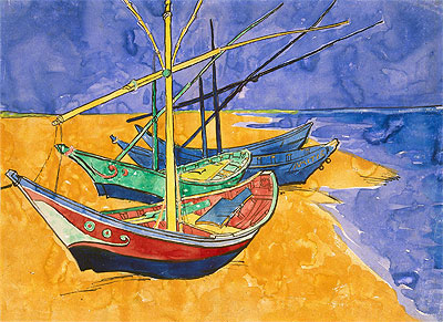 Fishing Boats on the Beach at Saintes-Maries-de-la-Mer, 1888 | Vincent van Gogh | Painting Reproduction