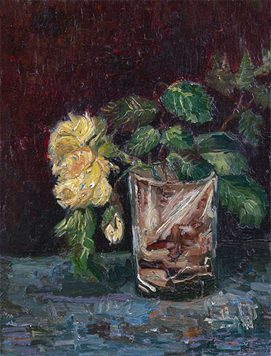 Glass with Yellow Roses, 1886 | Vincent van Gogh | Painting Reproduction