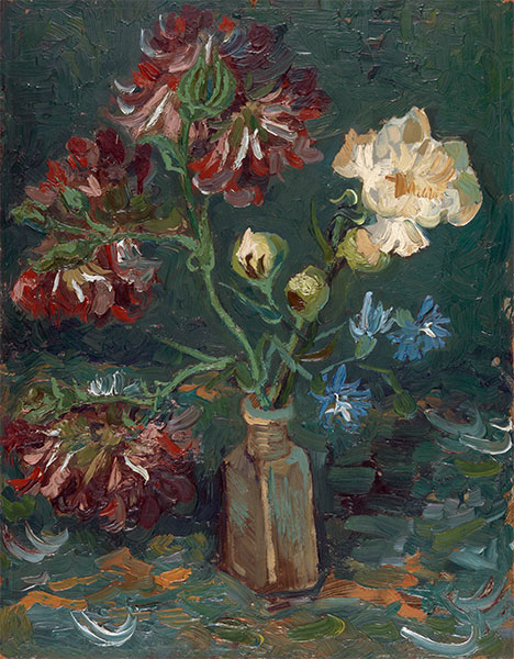 Small Bottle with Peonies and Blue Delphiniums, 1886 | Vincent van Gogh | Painting Reproduction