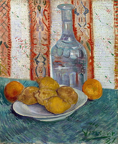 Carafe and Dish with Citrus Fruit, 1887 | Vincent van Gogh | Painting Reproduction