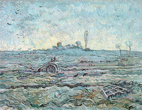 Snow-Covered Field with a Harrow, 1890 | Vincent van Gogh | Painting Reproduction