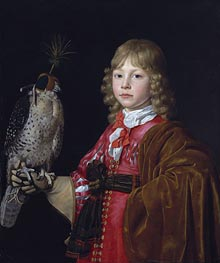 Wallerant Vaillant | Portrait of a Boy with a Falcon, undated | Giclée Canvas Print