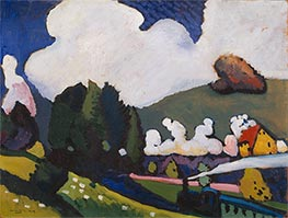 Landscape near Murnau with Locomotive, 1909 by Kandinsky   Giclée Canvas Print