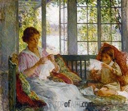 My Wife and Daughter, c.1917/18 by Willard Metcalf | Giclée Canvas Print