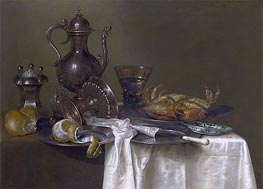 Still Life: Pewter and Silver Vessels and a Crab, c.1633/37 by Claesz Heda | Giclée Canvas Print