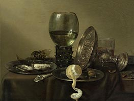 Claesz Heda | Still Life with Oysters, a Rummer, a Lemon and a Silver Bowl, 1634 | Giclée Canvas Print