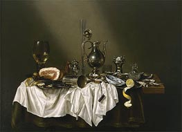 Claesz Heda | Banquet Piece with Ham, 1656 | Giclée Canvas Print