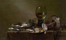 Claesz Heda | Still Life with Oysters, a Silver Tazza and Glassware, 1635 | Giclée Canvas Print