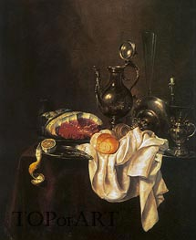 Still Life of Ham and Silver Plate, 1649 by Claesz Heda | Giclée Canvas Print