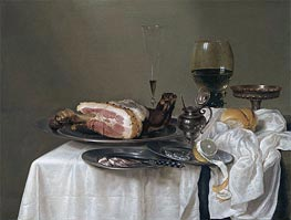 Claesz Heda | A Still Life with a Roemer, Silver Tazza and Ham, 1642 | Giclée Canvas Print