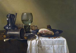 Still Life of a Pewter Kanne, a Roemer, an Overturned Silver Beaker Resting on a Pewter Plate, 1634 by Claesz Heda | Giclée Canvas Print