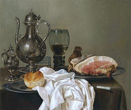 A Still Life with a Silver Tazza, a Roemer with White Wine and Ham, undated by Claesz Heda | Giclée Canvas Print