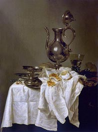 Still Life with Silver Ewer and Watch, 1643 by Claesz Heda | Giclée Canvas Print
