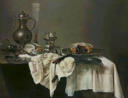 Claesz Heda | A Blackberry Pie, Upturned Nautilus Cup and a Silver Ewer, 1643 | Giclée Canvas Print