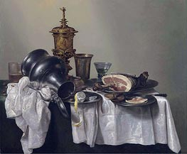 A Ham, a Peeled Lemon and an Upturned Tankard, 1655 by Claesz Heda | Giclée Canvas Print