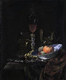 Willem Kalf | Wine Glass on a Gilded Silver Foot and a Bowl of Fruit, 1663 | Giclée Canvas Print