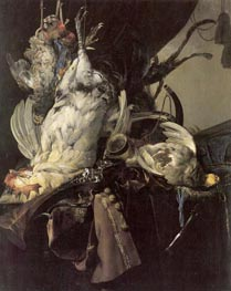 Willem van Aelst | Still Life of Dead Birds and Hunting Weapons, 1660 | Giclée Canvas Print