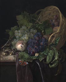 Willem van Aelst | Peaches, Chestnuts and Grapes in an Overturned Basket Resting on a Partially Draped Marble Ledge | Giclée Canvas Print