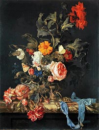 Willem van Aelst | Vase of Flowers with Pocket Watch | Giclée Canvas Print