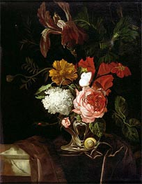 Willem van Aelst | Flowers in a Silver Vase with a Snail and a Butterfly, undated | Giclée Canvas Print