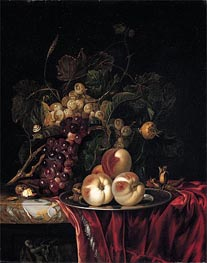 Willem van Aelst | A Still Life of Peaches on a Pewter Plate | Giclée Canvas Print