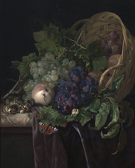 Peaches, Chestnuts and Grapes in an Overturned Basket Resting on a Partially Draped Marble Ledge, 1677 | Willem van Aelst | Painting Reproduction