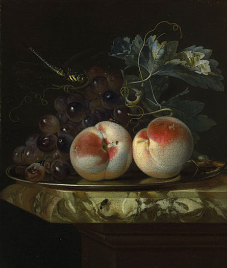 A Still Life with Two Peaches and Bunch of Grapes on a Silver Plate set on a Marble Slab, 1664 | Willem van Aelst | Painting Reproduction