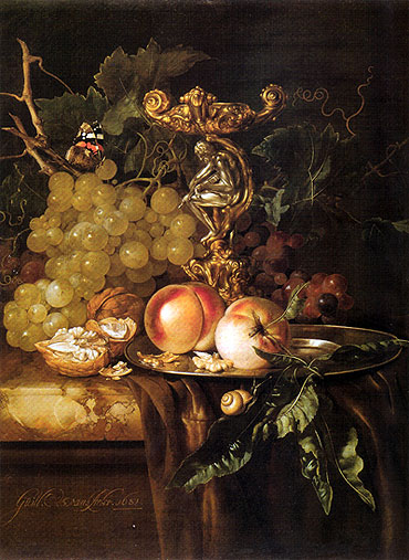 Still Life of Fruits, 1681 | Willem van Aelst | Painting Reproduction