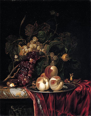 A Still Life of Peaches on a Pewter Plate, undated | Willem van Aelst | Painting Reproduction