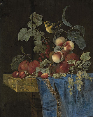 Still Life with Fruits and a Finch, undated | Willem van Aelst | Painting Reproduction