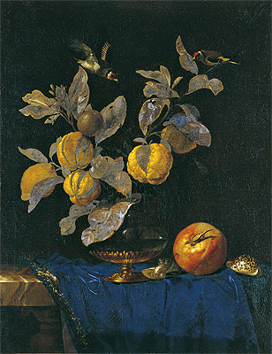 Glass Vase with Branches Bearing Fruit, 1664 | Willem van Aelst | Painting Reproduction