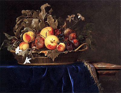 Still Life with a Basket of Fruit on a Marble Ledge, 1650 | Willem van Aelst | Painting Reproduction