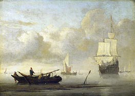 Willem van de Velde | Ships at the Coast, Calm Sea | Giclée Canvas Print