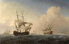 Willem van de Velde | English Warships Heeling in the Breeze Offshore, c.1673 | Giclée Canvas Print