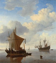 Willem van de Velde | A Calm - A Smalschip and a Kaag at Anchor, c.1675 | Giclée Canvas Print