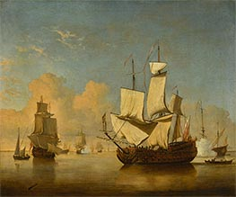 Willem van de Velde | An English Man-of-War Coming to Anchor in a Light Air, c.1700 | Giclée Canvas Print