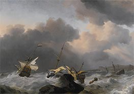 Willem van de Velde | The Jupiter and another Dutch Ship Wrecked on a Rocky Coast, Undated | Giclée Canvas Print