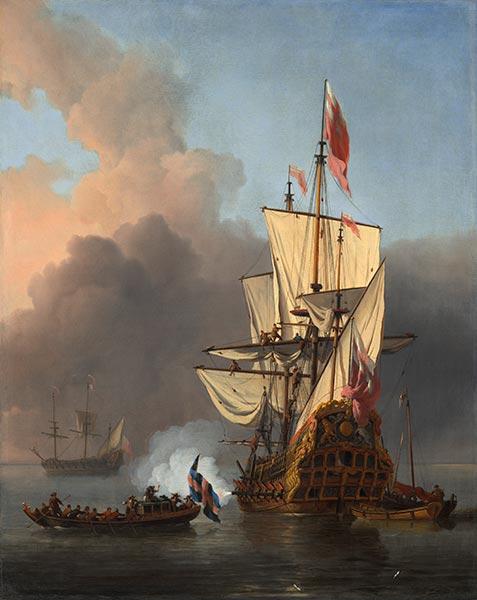 An English Warship Firing a Salute, 1673   Willem van de Velde   Painting Reproduction