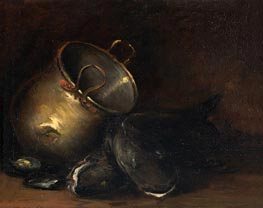 Still Life - Brass Kettle and Catfish, undated by William Merritt Chase | Giclée Canvas Print