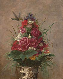 Floral Still Life with Hummingbird, 1870 by William Merritt Chase | Giclée Canvas Print