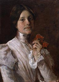Young Woman with Red Flowers, 1904 by William Merritt Chase | Giclée Canvas Print