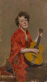 Girl with Guitar, c.1886 by William Merritt Chase | Giclée Canvas Print
