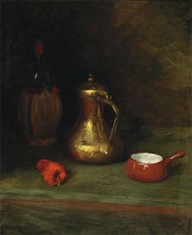 William Merritt Chase | Still Life with Bottle, Carafe, Pot and Red Pepper, c.1905 | Giclée Canvas Print