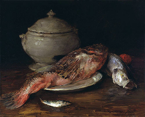 Still Life (Fish from the Adriatic), c.1907/14 | William Merritt Chase | Painting Reproduction