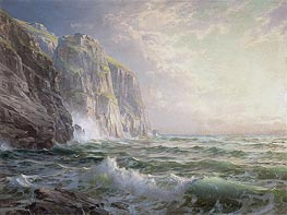William Trost Richards | Rocky Cliff with Stormy Sea, Cornwall | Giclée Canvas Print